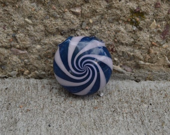 Spiral hollow disk, heady glass pendant, light pink and blue, ready to ship