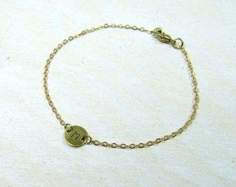 Initial bracelet, monogram bracelet, gold colored brass bracelet, 8 mm disc stamped letter, simple dainty delicate minimalistic, handmade