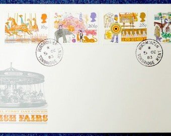 British Fairs First Day Cover 1983 - Royal Mail FDC, colourful UK postage stamps, fairground, travelling show, carousel, Andrew Restall