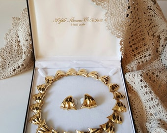 Vintage Necklace with Matching Earrings, Fifth Avenue Collection Hand Made Jewellery in Original Box