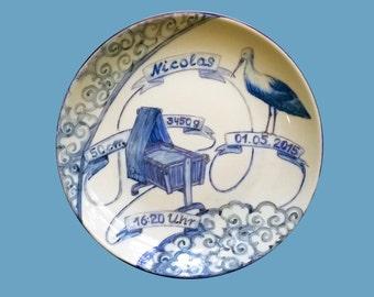 "Birthplate / Children's plate / Christening plate ""Stork, Cradle + Clouds Everywhere"" blue, handpainted, D~20-21cm,crafts,stoneware,ceramics"