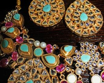 Stunning Royal Stone Tikka, Earrings & Necklace Jewelry Set