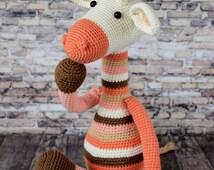 crochet toy ,amigurumi, Knitted toy , yarn, a toy of threads, knitted giraffe, handmade, baby toys, giraffe,bright toy, striped toy