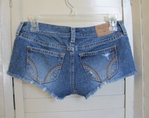 Size 0 Denim Blue Jean cut off Super Short Shorts Distressed High Style Hollister California Low rise Spring fashion