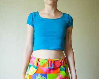 Floral Neon Rave Mini-Skirt