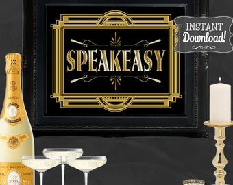 Speakeasy Gatsby Party Poster - INSTANT DOWNLOAD - Printable Party Wedding & Birthday Art Deco 1920s Bar Drinks Sign - Sassaby Weddings