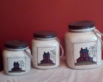 Canister set,Primitive canisters,food storage,Rustic canisters,Farmhouse canisters