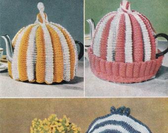 Vintage Knitting Pattern, Vintage Crochet pattern, Tea Cosy patterns, Egg warmers, 4 pages,  Instant pdf Download, Digital download