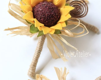 3 Rustic Sunflower Boutonnieres, Set of 3 Groom and Groomsmen Boutonnieres, Sunflower Wedding Accessories, Sunflower Brown Swirl Buttonholes