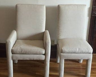 Six Vintage Milo Baughman Parsons Dining Chairs