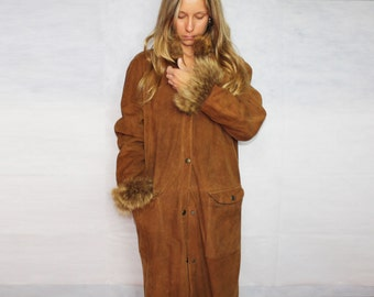 Vintage Retro 1990s suede long winter coat overcoat fur SPORT MAX by Max Mara brown suede high luxury made in Italy Taglia/Size: 42