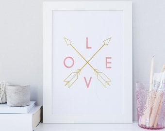Boho Print, Abstract Print, Arrow print, gold foil printable, watercolor print, tribal wall decor, nursery, home decor, digital download