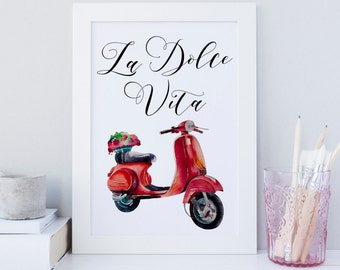 La dolce Vita wall art, Vespa print, Italy art, Italian quote print, The beautiful life print, Floral summer print, Typography print, deco