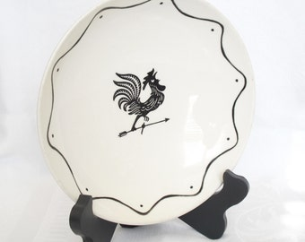 Vintage Black Rooster Bowl, Serving Dish by Royal China in the Early Morn Pattern, Black Rooster and Weather Vane, Lunch Bowl, Country Dish