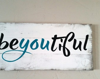"Large 17"" X 35"" handpainted and distressed beyoutiful wood sign."