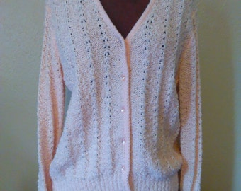 Vintage Pink Cardigan, Le Chois Cardigan, Classy Cardigan, Pink Sweater