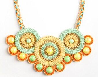 "Hand made soutache necklace ""Brazil-2"""