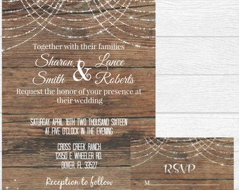 Rustic wood with fairy lights wedding invitation invite - custom printable