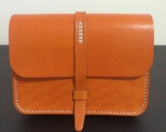 Handmade leather messenger bag shoulder bag