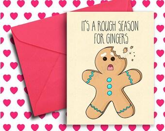 Funny Christmas Card, Ginger Card, Holiday Card, Birthday Card Best Friend, Funny Birthday Card, Boyfriend, Girlfriend, Xmas, Christmas Gift