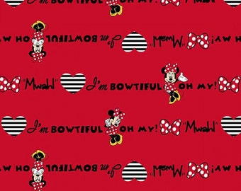 Sale - Disney Minnie I'm Bowtiful Red Flannel Fabric from Disney for Springs Creative