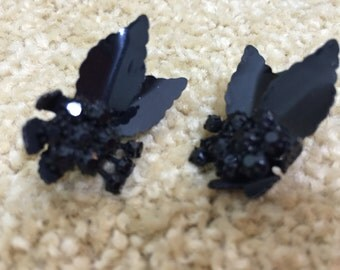 Japanned Vendome marked vintage clip on earrings with black crystals....rare!