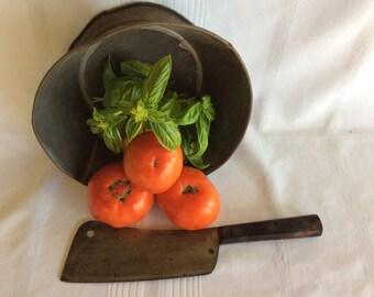 Antique primitive Meriden meat cleaver cast iron butcher's chief kitchen knife wood handle