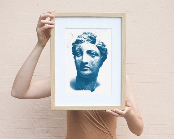 Greek Terracotta Head of a Woman, Cyanotype Print on Watercolor Paper, A4 size