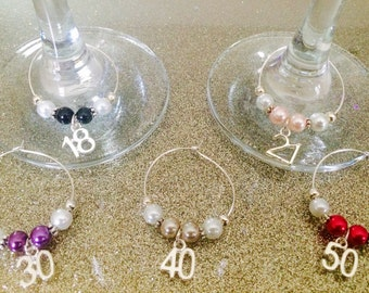 Number Wine Glass Charm