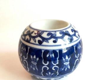 Asian china blueware ceramic globe candlestick