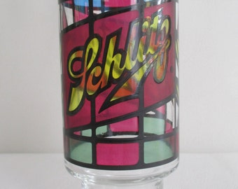 Vintage 1970s Schlitz Stained Glass Beer Pint Glass