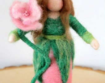 Spring Flower Maiden - Needle Felted Waldorf Doll - Nature Table Doll
