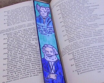 Book nerd gifts art laminated paper bookmark philosophy art karl marx & Arthur Schopenhauer philosopher communism philosophias capitalism