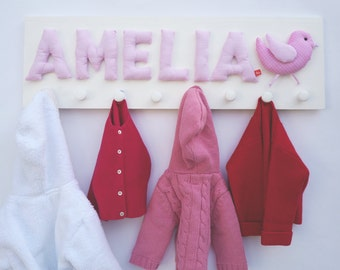 Childrens coatrack with name and bird, personalized girl gift, pink, coat hooks, coat rack, coat peg, wardrobe, Baby Xmas Gift