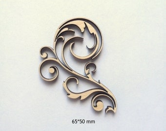 Curly Laser cut wood ornamental detail / Wood decor / Scrapbooking supplies / Craft supplies / Wood charms / Wood embellishments / Wood lace