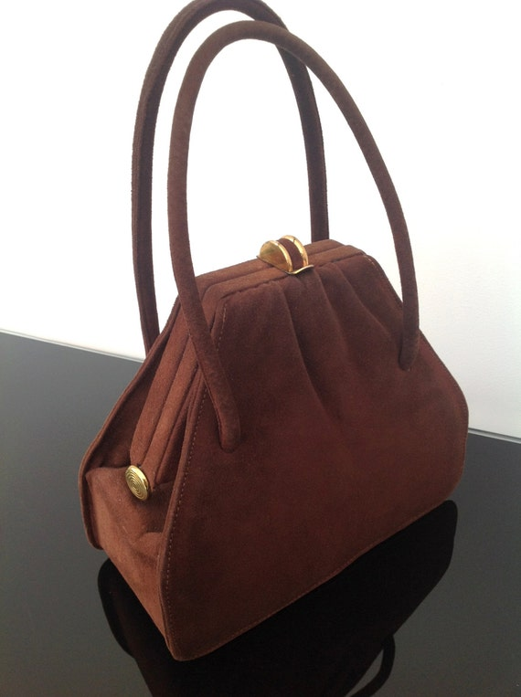 Retro Handbags, Purses, Wallets, Bags Fabulous 1930s 1940s handbag purse suede box bag vintage antique $168.10 AT vintagedancer.com