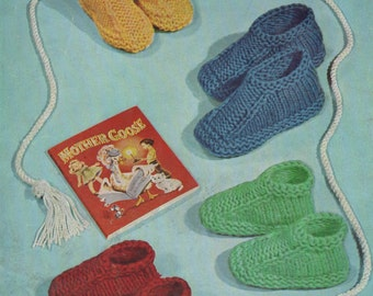 Childrens Slippers PDF Knitting Pattern : Boy or Girl Shoe Sizes 4 - 5, 6 - 7, 8 - 10 and 11 - 12 . One Design . Instant Digital Download