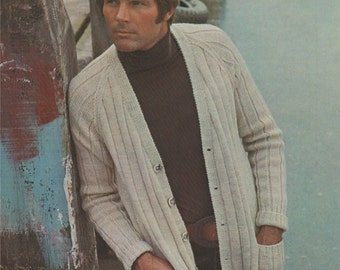 Mens Cardigan PDF Knitting Pattern : Mens 38, 40, 42 and 44 inch chest . Slouch Cardigan . Digital Download