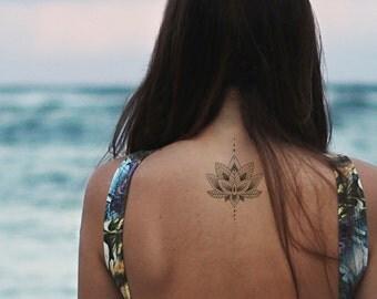 lotus tattoo / mandala fake tattoo / boho vintage flower tattoo / girly tattoo / big tattoo hipster girl festival temporary tattoo temp tat