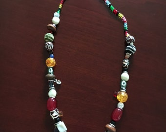Multi colored long bead necklace