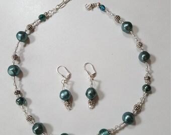 Marine Blue Necklace & Earrings