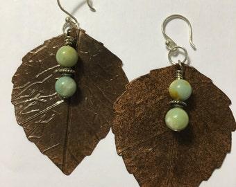 Leaf, silver & stone earrings