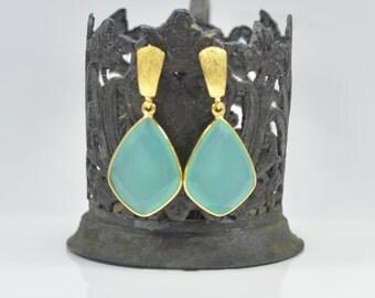 Aqua Chalcedony Earrings, Chalcedony Silver Earrings, Gold Chalcedony Earrings, Silver Chalcedony Earrings, Aqua Chalcedony Drop Earrings