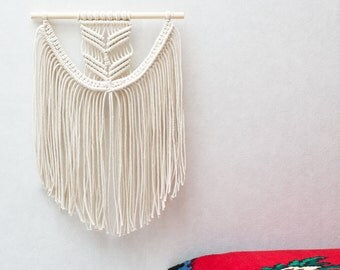 "Small Macrame Wall Hanging - Macrame Curtains - Macrame Wall Art - Macrame Patterns - Wall Tapestry - Neutral Tapestry - Home Decor - ""EVA"""