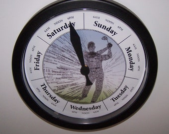 Day of the WEEK Graphic Golfer Clock