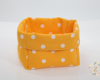 Fabric basket, Bread Basket, Yellow and White Dotted Dining Table Decoration