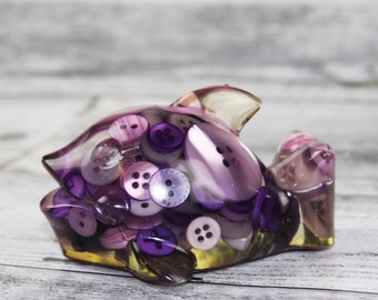 Whale - Dolphin - Fish - Purple - Solid Resin and Buttons Ornament