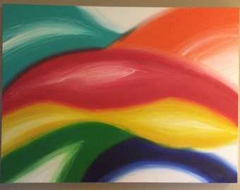 "40""x 30"" Colorful Abstract Acrylic Painting"