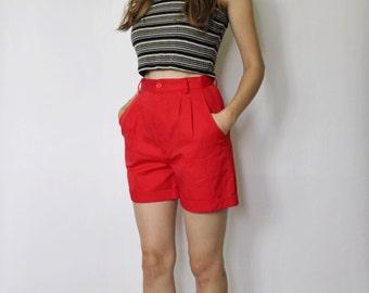 Vintage 1960s High Waist Shorts | High Waist Red Shorts | Red Shorts | sz 23.5