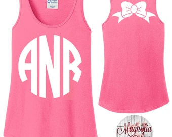 Custom Monogram Bow Back Women's Tank Top in 6 Colors in Sizes Small-4X, Plus Sizes